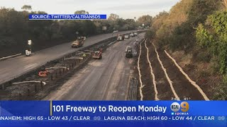 Officials Expect 101 Freeway In Santa Barbara County To Open Ahead Of Monday Commute