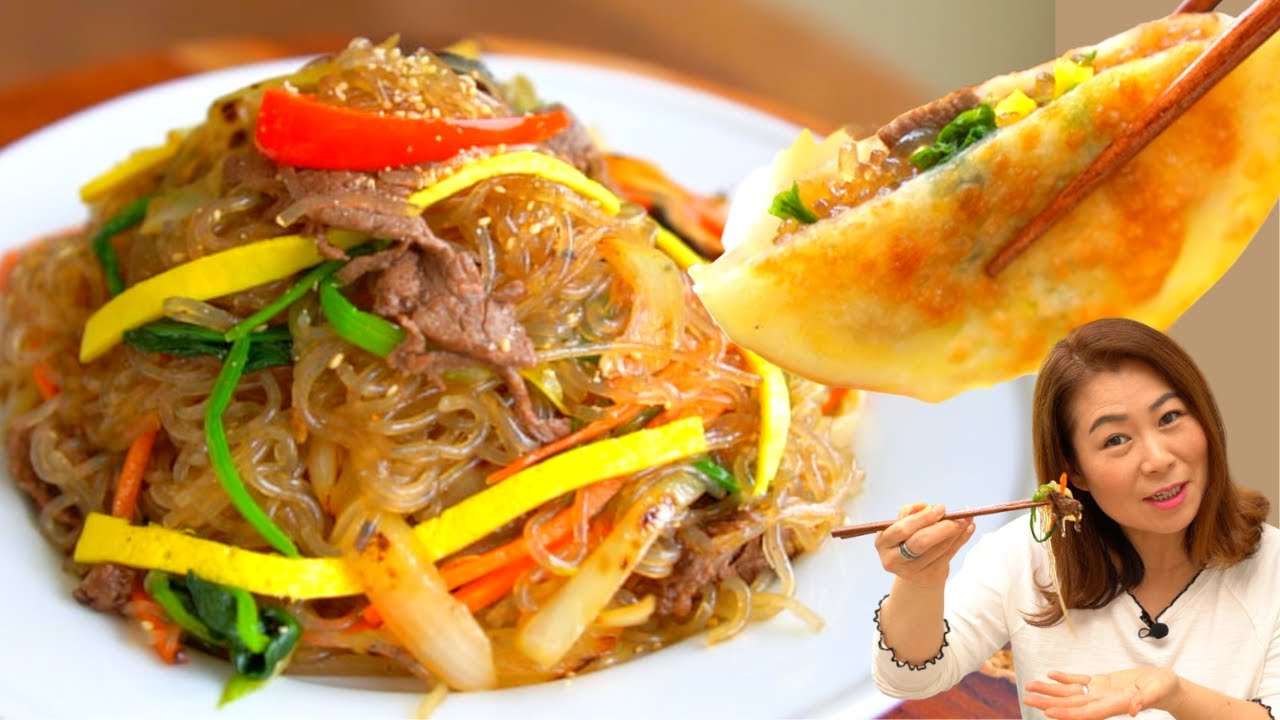 EASY Japchae (NEW) + Japchae Dumpling🥟(Korean Glass noodles w vegetables) 초간단 잡채+🥟잡채만두 チャプチェ 🌱