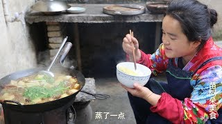 苗大姐三斤羊肉,三斤萝卜一锅炖,大钵米饭吃了8分饱