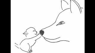 Kitten and dog. How to draw a easy Котенок и собака. Как нарисовать просто