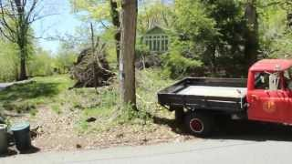 Pulling a stump with the 1965 international d1300 flatbed
