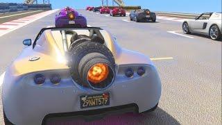 GTA 5 Online 16 Man Rocket Races IM IN THE BACK!! w/The Crew!