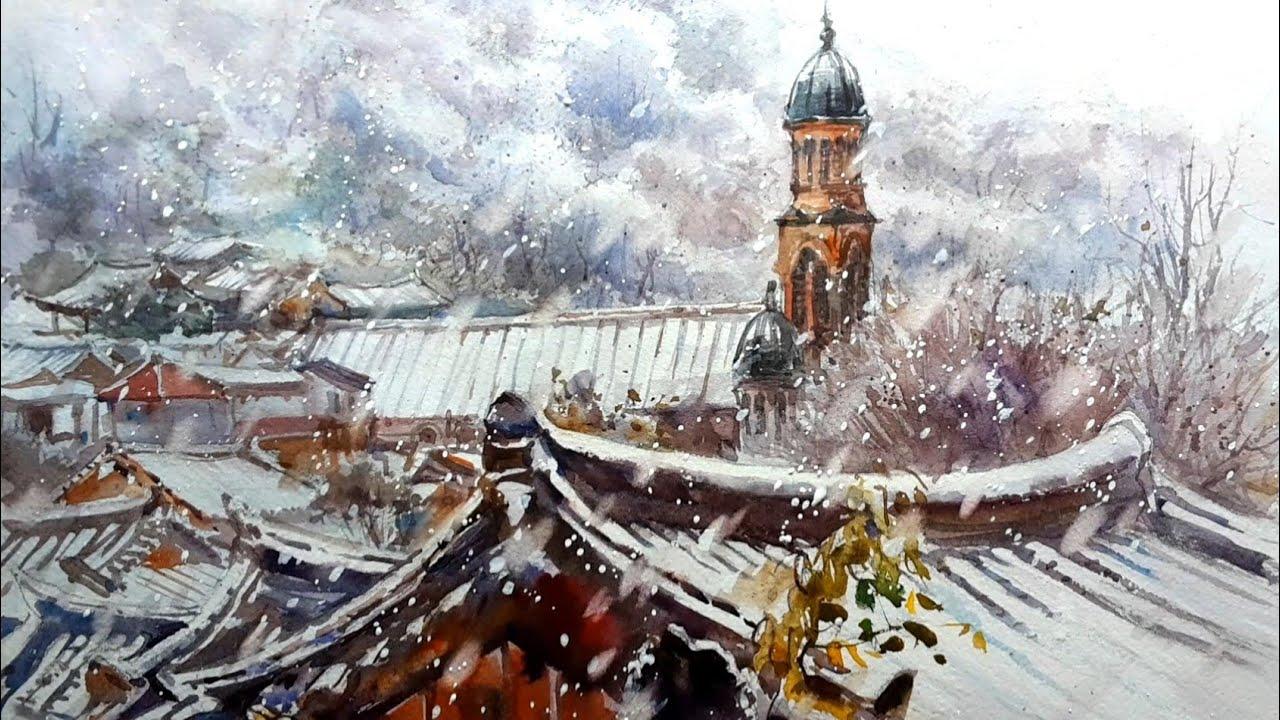 3월, 눈이 오시네! 전동성당이 보이는 풍경 | 전주한옥마을 | 수채화