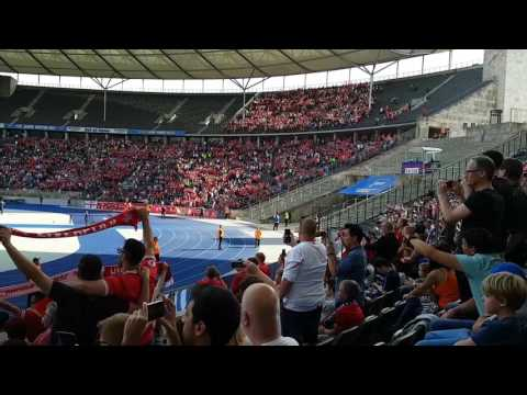FC Liverpool fans singing in the Olympic Stadium Berlin, anniversary game against Hertha BSC