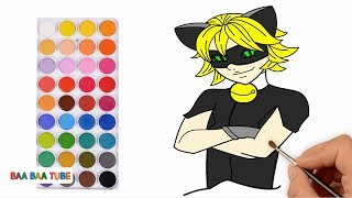 How to Draw Cat Noir from Miraculous Ladybug | Coloring Pages Drawing Chat Noir