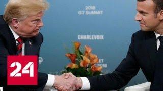 Смотреть видео Сосиски и белые пятна: подробности общения Макрона с Трампом - Россия 24 онлайн