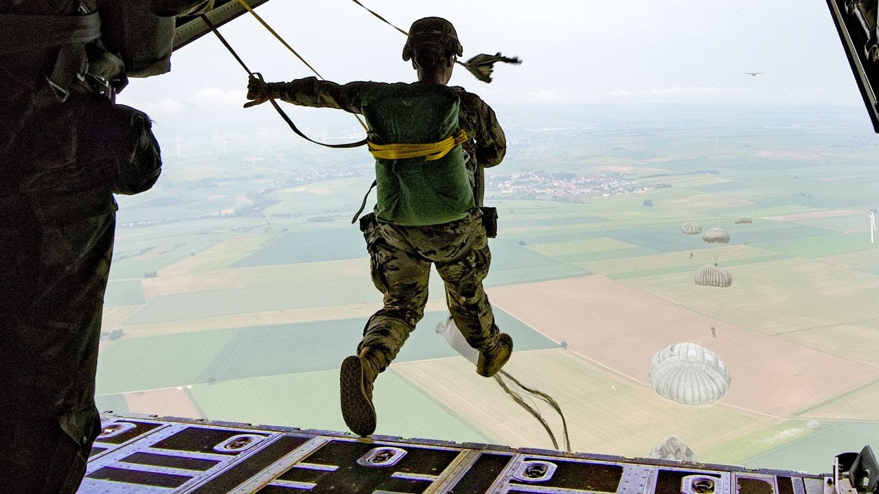 South Korean • Paratroopers Jump • U.S. Army CH-47 Chinook Helicopter