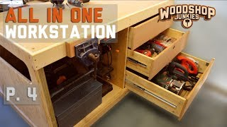 Adding a workbench with organized power tools drawer storage to my all-in-one woodworking station. Miter Saw User Review: ...
