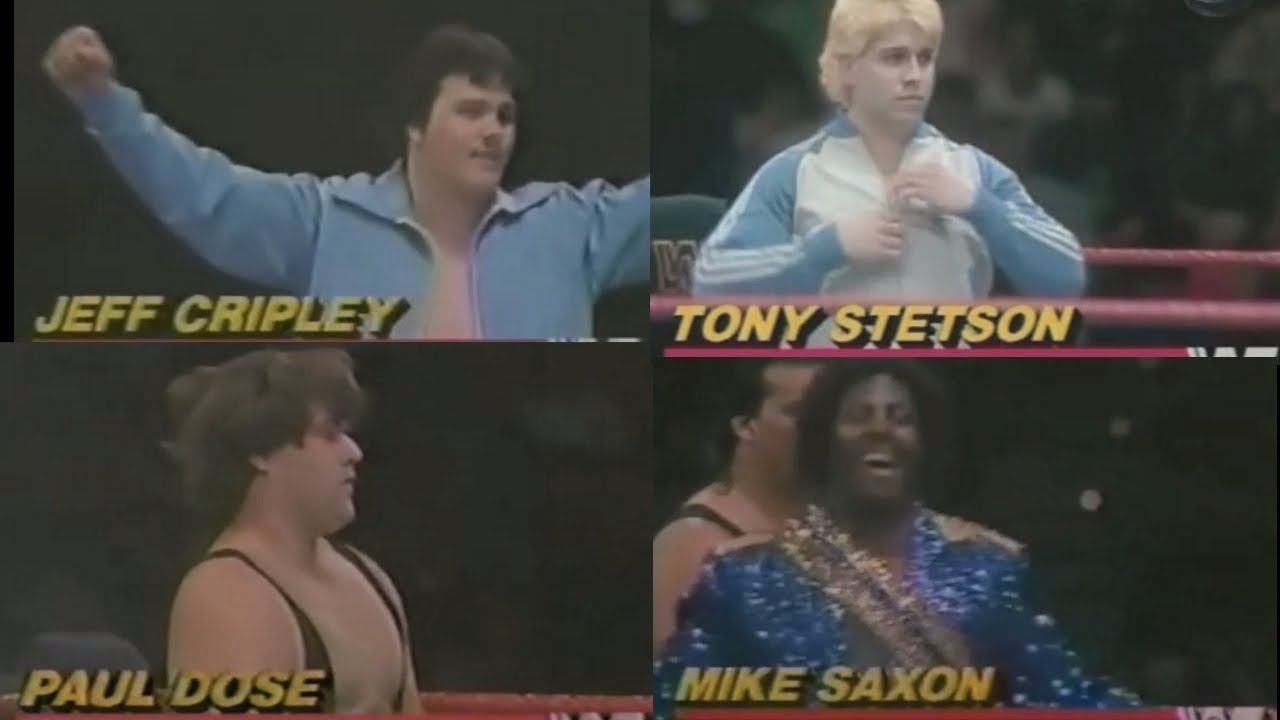 "1849dd9eceb83a Wrestling ""Jobbers"" Jeff Cripley, Mike Saxon, Paul Dose & Tony Stetson;  1986. Job Guy"