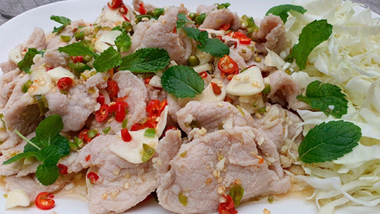 หมูมะนาว วิธีหมักหมูนุ่มๆ สูตรน้ำยำสุดแซ่บ Spicy Pork with Lime Salad