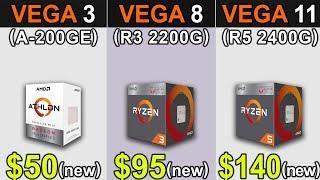 Vega 3 (Athlon 200GE) Vs. Vega 8 (R3 2200G) Vs. Vega 11 (R5 2400G) | New Games Benchmarks