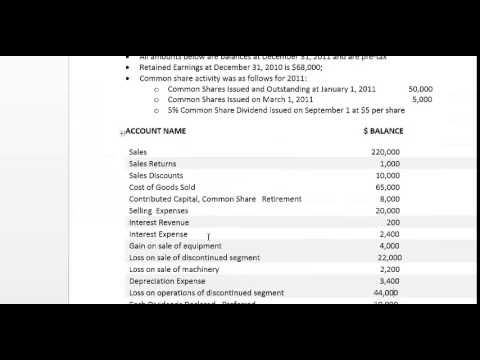 Question 3 - Multi-Step Income Statement with EPS and WACS Calculations