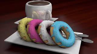 3D Coffee and Doughnuts I made with Cinema 4D