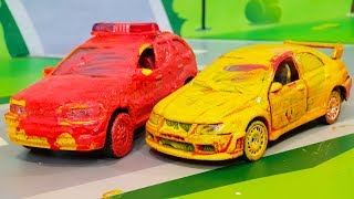 Мультики про машинки. Красим полицейские и гоночные машинки в разные цвета. Мультфильмы для детей