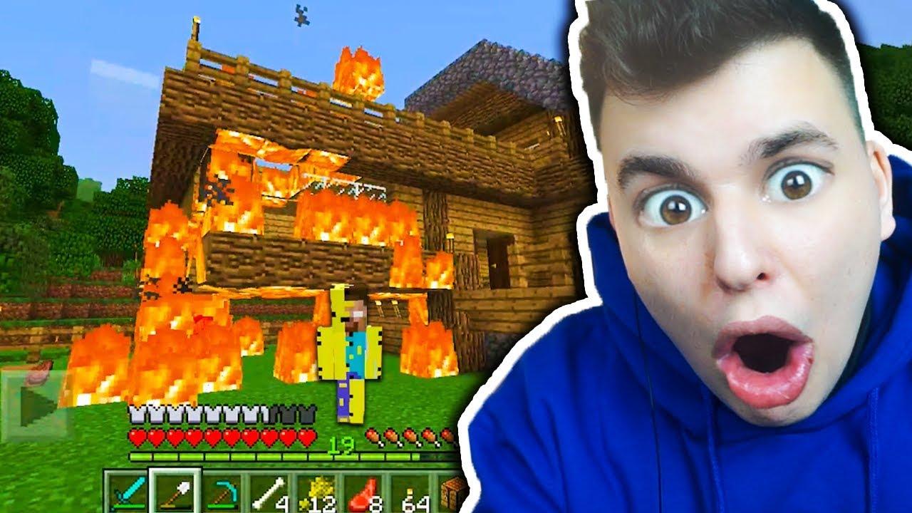 Minecraft na Telefon – HEROBRINE PODPALIŁ MI DOM!!!! #15