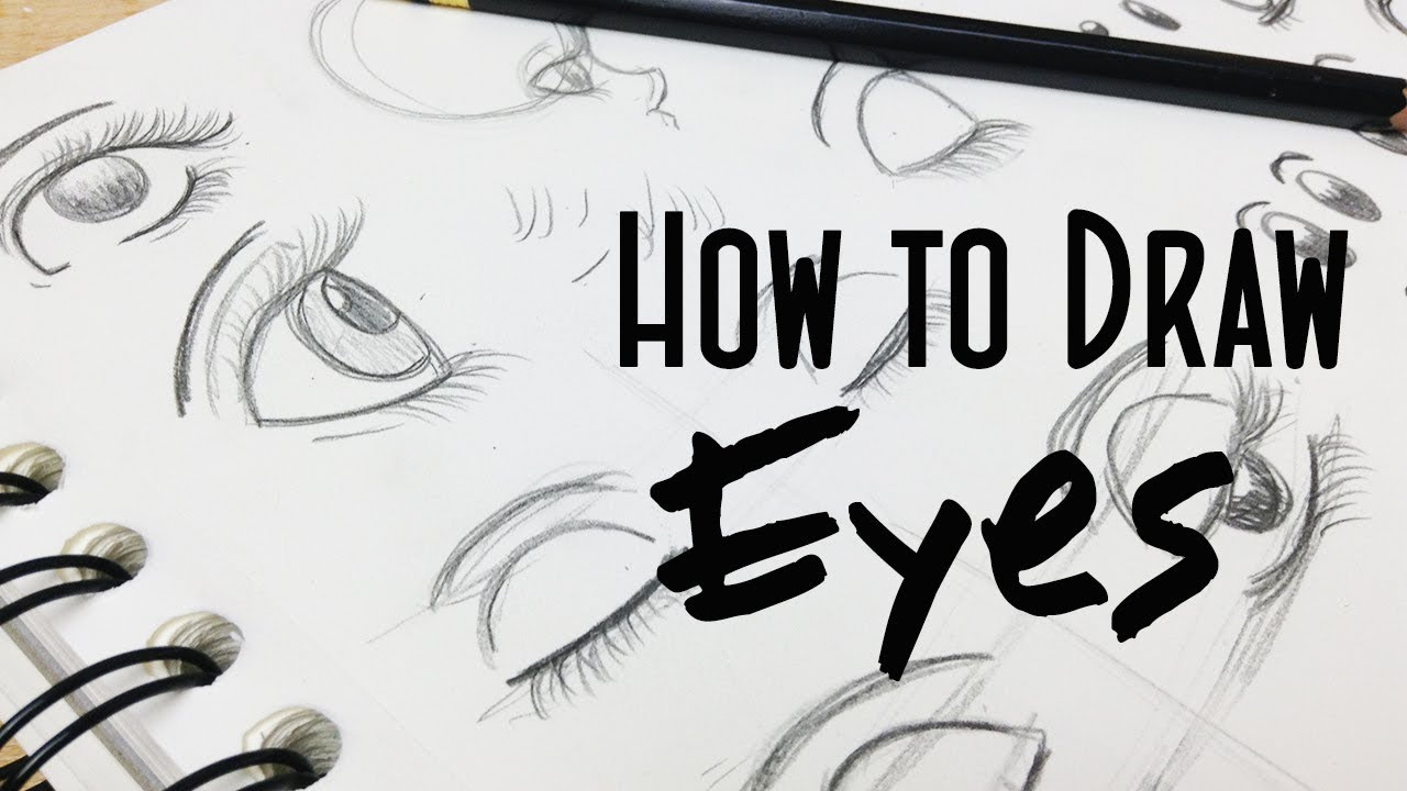 How to draw stylized cartoon girl eyes real time drawing tutorial