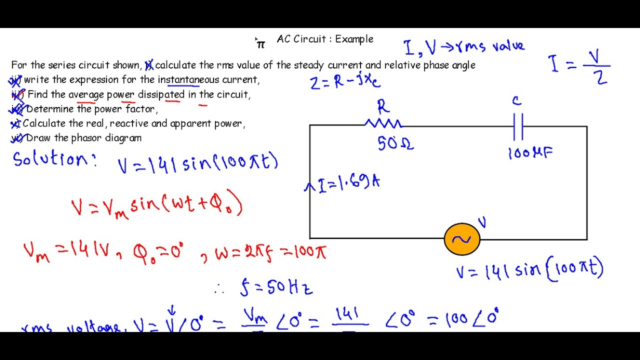 Ac circuit example 3 rc series circuit youtube ac circuit example 3 rc series circuit ccuart Image collections