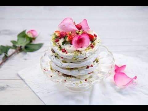 Strawberry, Pistachio & Honey Meringue Layer Cake