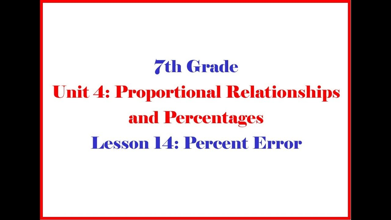 small resolution of Percent Error