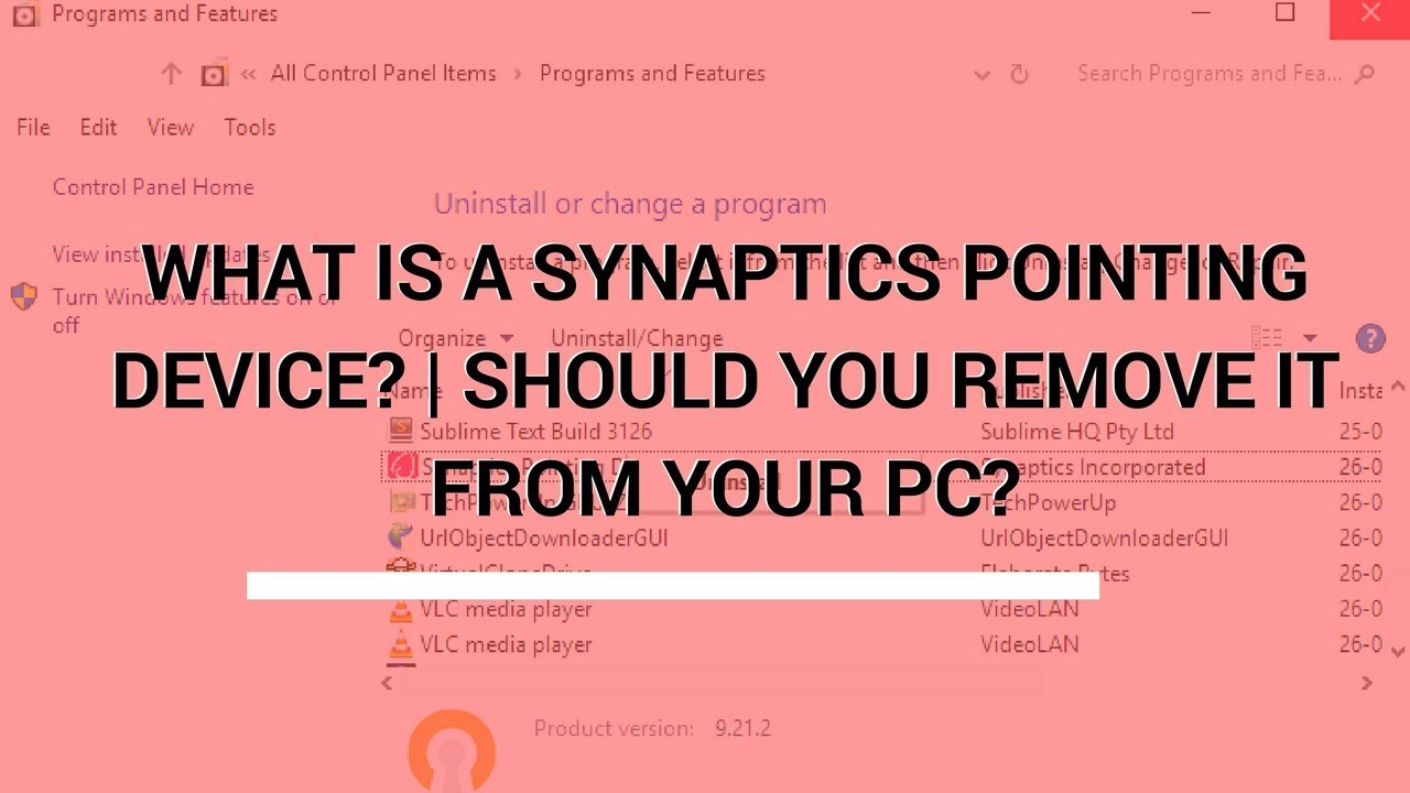 WHAT IS A SYNAPTICS POINTING DEVICE DRIVER ? SHOULD YOU REMOVE IT FROM YOUR  PC?