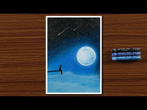 easy-oil-pastel-drawing-for-beginners---a-boy-in-moonlight-night---step-by-step