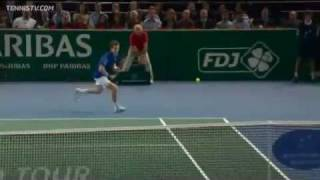 Andy Murray Hits Hot Shot Lob Against Monfils In Paris