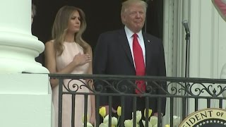 Melania Trump nudges her husbands potential faux pas out of the way