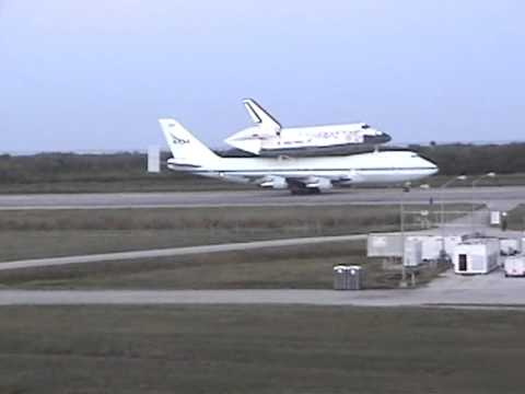 The Final Flight: Space Shuttle Discovery And SCA Taxi Down The KSC Landing  Facility Runway