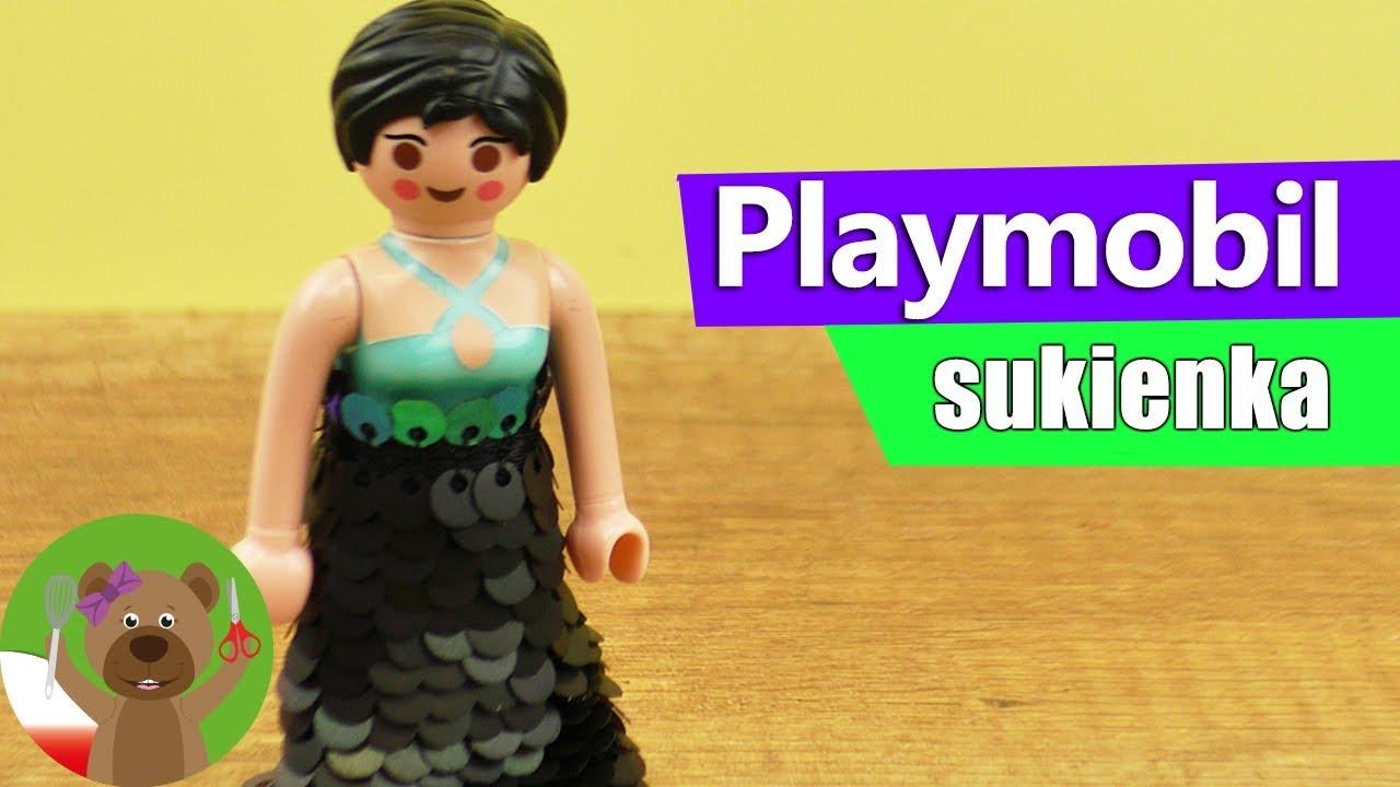 DIY Playmobil | wieczorowa sukienka z cekinami dla laleczki Playmobil |  moda dla lalek