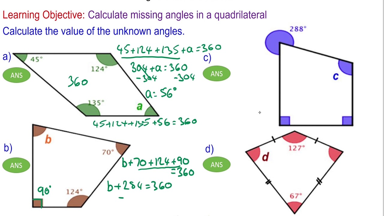 hight resolution of Angles in a Quadrilateral