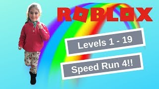 Doing Levels 1 - 19 In ROBLOX Speed Run 4