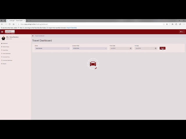 Justlogit.online - Web Application - Dashboard - View travel and cost records
