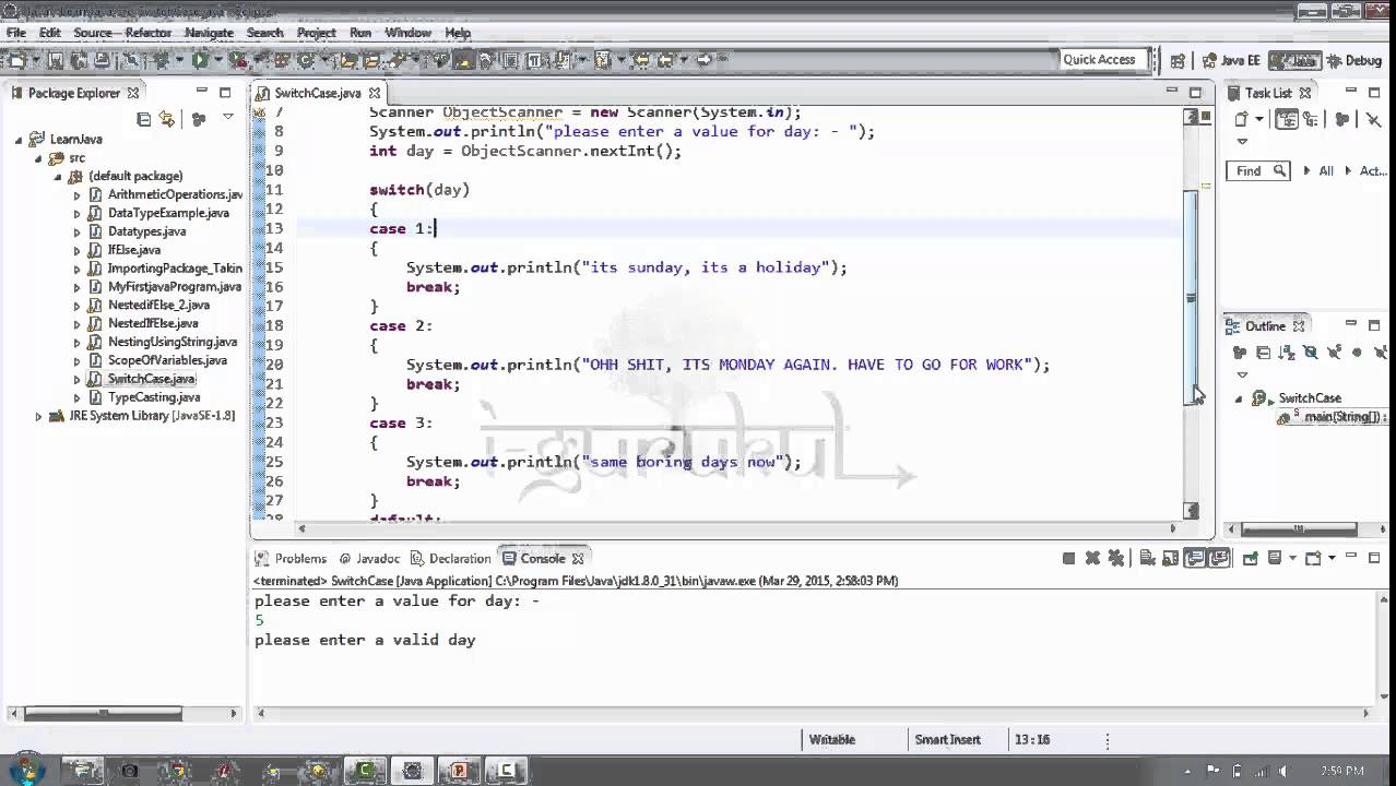 Lesson 15 switch case in java youtube - Switch case java ...