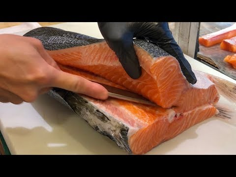 Salmon Cutting Skills  - How to Cut a Salmon for Sashimi