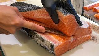 Salmon Cutting Skills 鮭魚切割技能 - How to Cut a Salmon for Sashimi