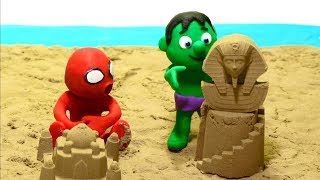 Sand beach 💕Superhero Play Doh Stop motion cartoons