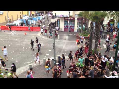 Huntington Beach Riot On Main Street - US Open Of Surfing 2013 (Taken From Hurricane's)