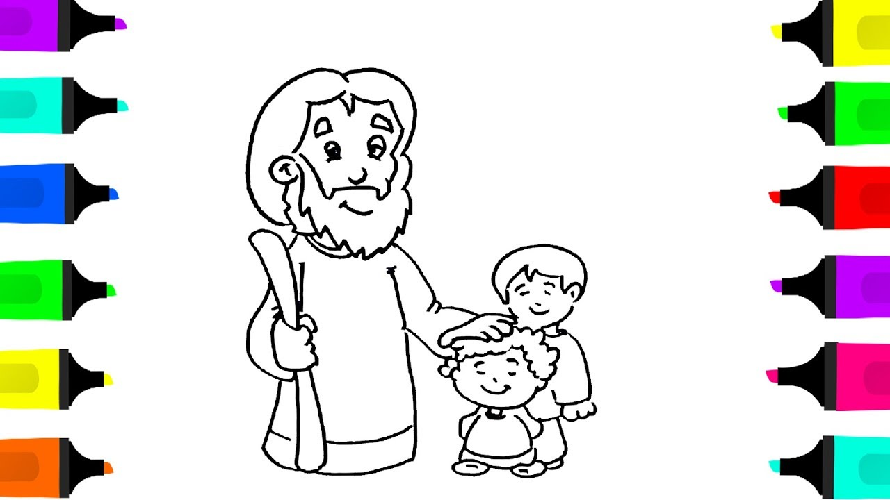 Drawing Jesus With Children coloring pages for kids\\Learn to Draw ...