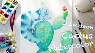 🌵 Watercolor Cactus 🌵 Watercolor Chameleon - How to draw a chameleon / Cactus 透明水彩變色龍 水彩仙人掌