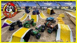Monster Trucks STOP MOTION Animation - Monster Jam DIY Stadium Arena with FREESTYLE SHOW HIGHLIGHTS!
