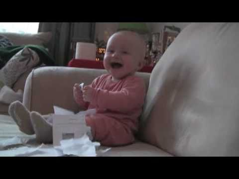 Baby Laughing Hysterically at Ripping Paper (Original) Travel Video