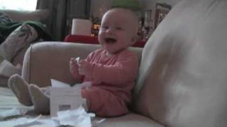 Baby Laughing Hysterically at Ripping Paper (Original)(8-month-old Micah (a boy) laughing hysterically while at-home daddy rips up a job rejection letter. Check out the other