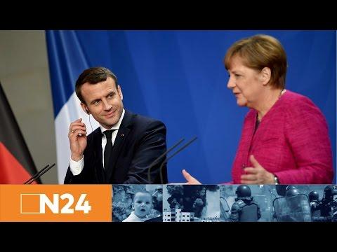 Emmanuel Macron bei Angela Merkel: Antrittsbesuch des französischen Präsidenten in Berlin