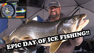My Best Day of Ice Fishing EVER! | BIG LAKE TROUT x2!!!