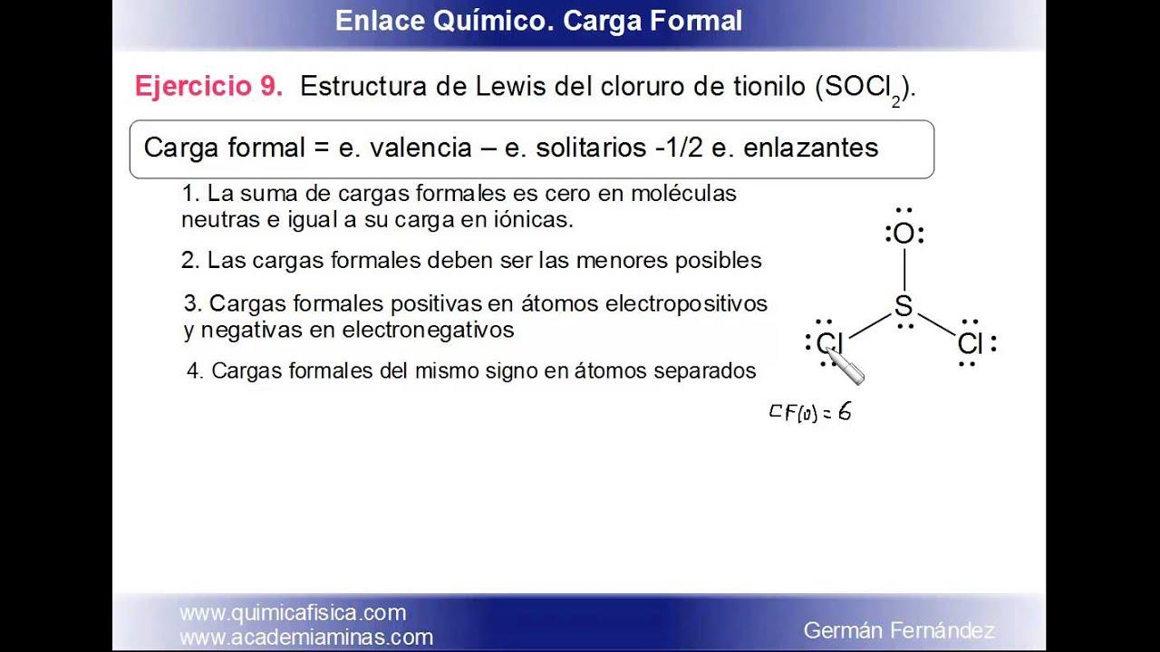 Estructura De Lewis Y Carga Formal Del Cloruro De Tionilo Socl2
