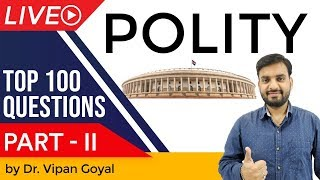 Indian Polity & Constitution | Top 100 MCQ for UPSC State PCS SSC CGL Railway other Exams | Part 2