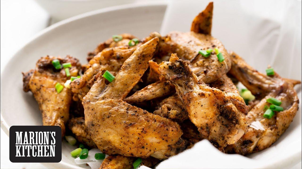 Crispy Oven Baked Salt Pepper Wings Marion S Kitchen