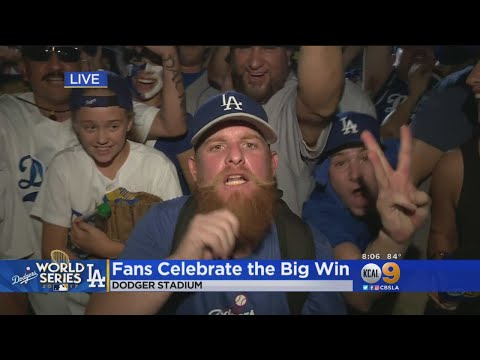 Dodgers Fans Celebrate While Leaving The Stadium