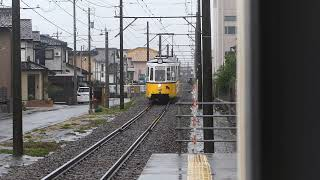 福井鉄道(735号機)通称:レトラム…ベル前駅二到着ス。