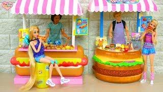 Barbie doll Roadside Burger Stand : Barbie Toy Boneka Mainan Barbie Brinquedo da boneca Barbie